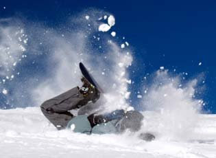 Snowboarder crashed in the snow